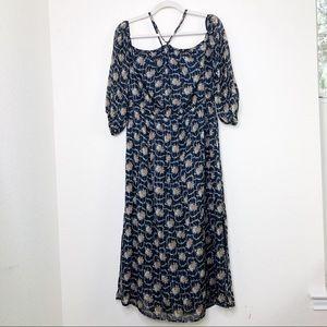 Club Monaco Silk Off Shoulder Floral Midi Dress 12